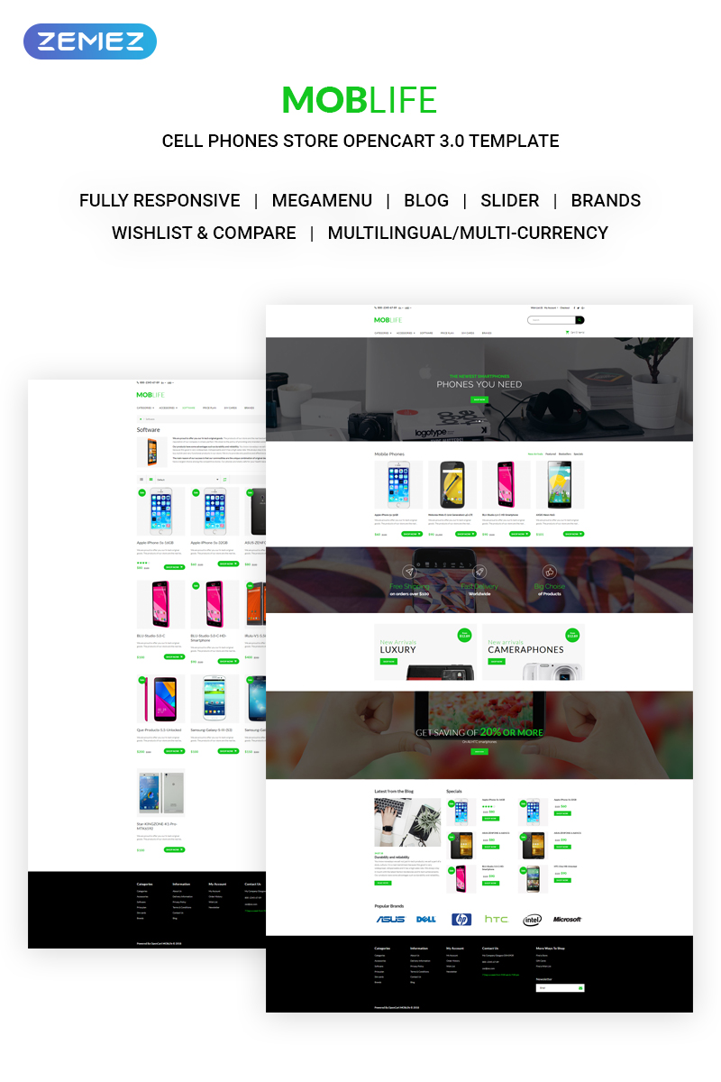 Responsive MobLife - Cell Phones Store Opencart #71034