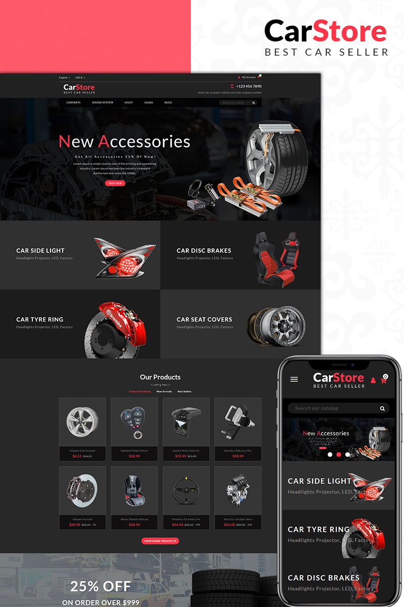 Responsivt Car Store PrestaShop-tema #71084