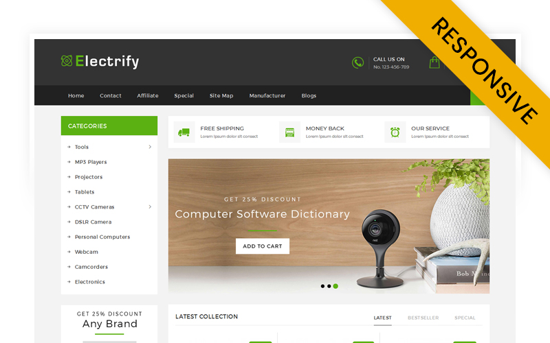 Responsywny szablon OpenCart Electrify Digital Store #71018
