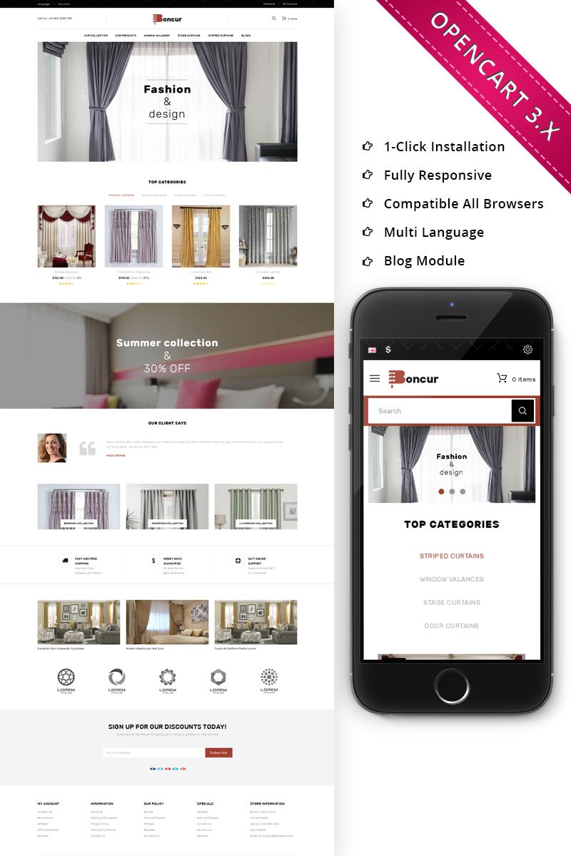 """Responzivní OpenCart šablona """"Boncur - The Curtain Shop Responsive"""" #71005"""