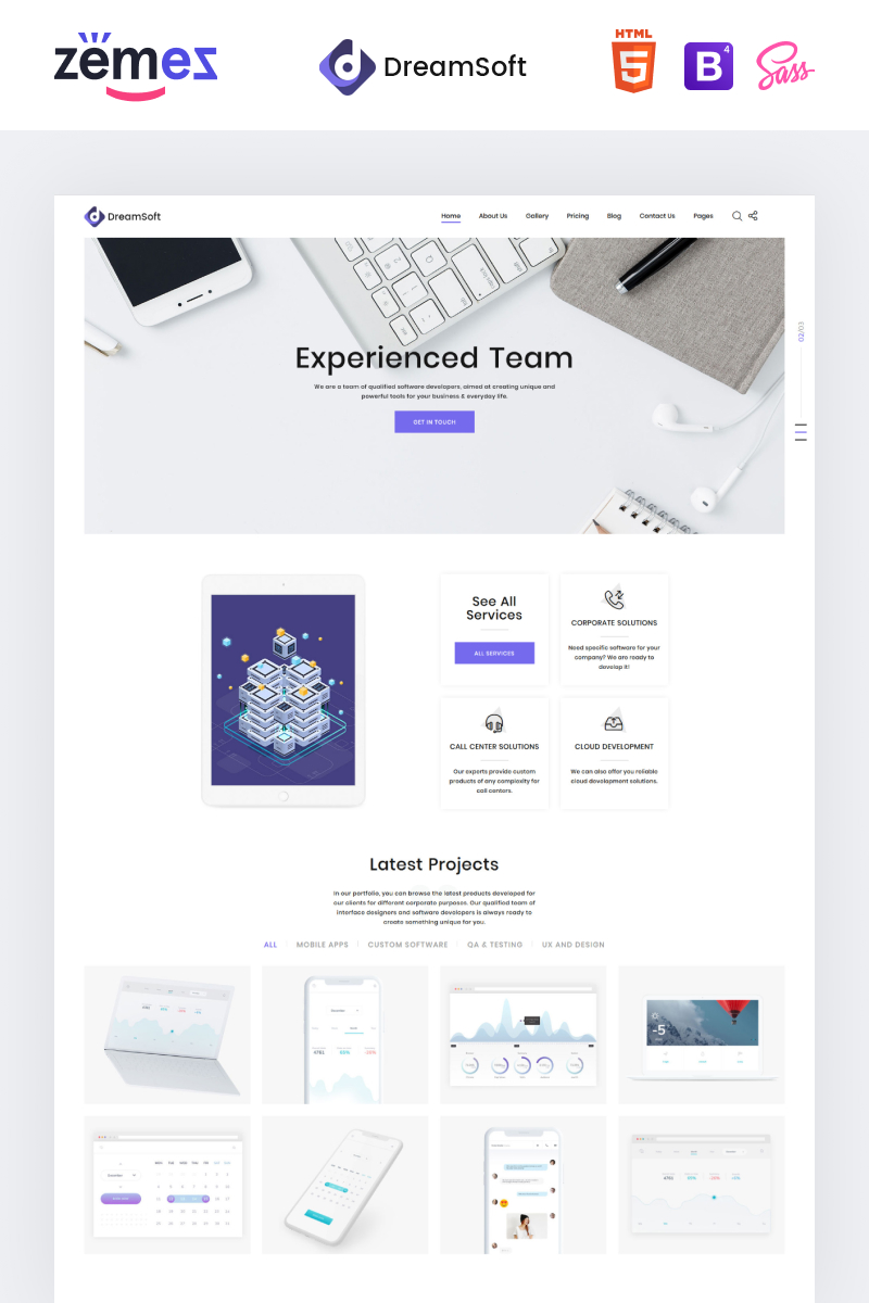 Reszponzív DreamSoft - Software Development Company Multipage Weboldal sablon 71028