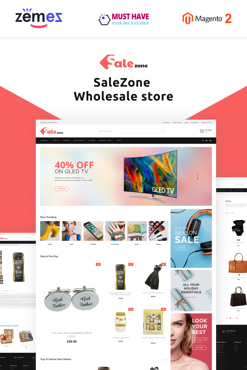 """SaleZone - Wholesale eCommerce"" thème Magento adaptatif #71020"