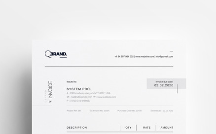 Simple Clean Minimal Invoice - Corporate Identity Template