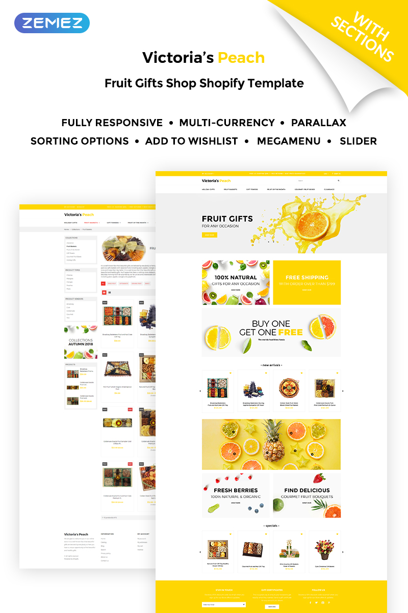 Victoria's Peach - Fruit Gifts Shopify Theme