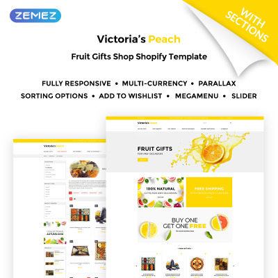 Victoria's Peach - Fruit Gifts Shopify Theme #71026