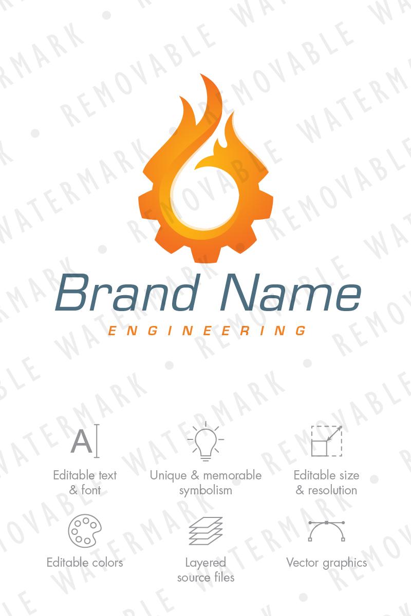 Burning Cogwheel Logo Template - screenshot