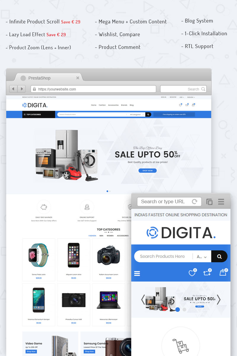 """Digita - Electronics"" 响应式PrestaShop模板 #71176"