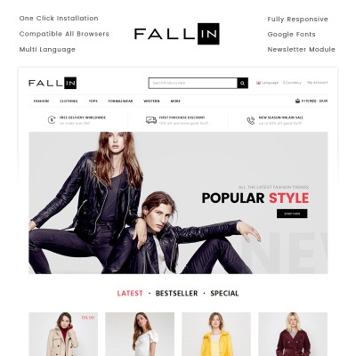 Fallin - Fashion Store OpenCart Template #71149