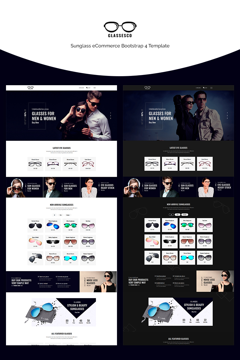 """Glassesco - Glasses eCommerce Bootstrap4"" modèle web adaptatif #71147 - screenshot"
