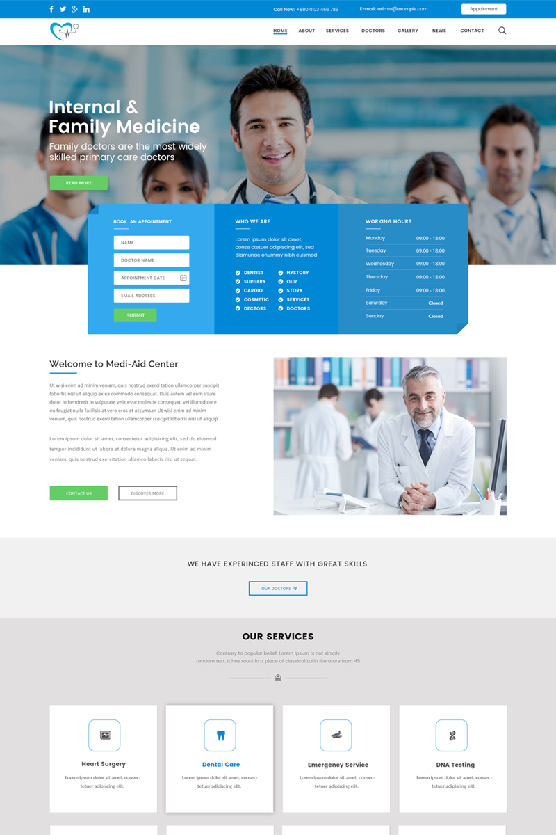 Medi-Aid - One Page Medical Template Photoshop №71178
