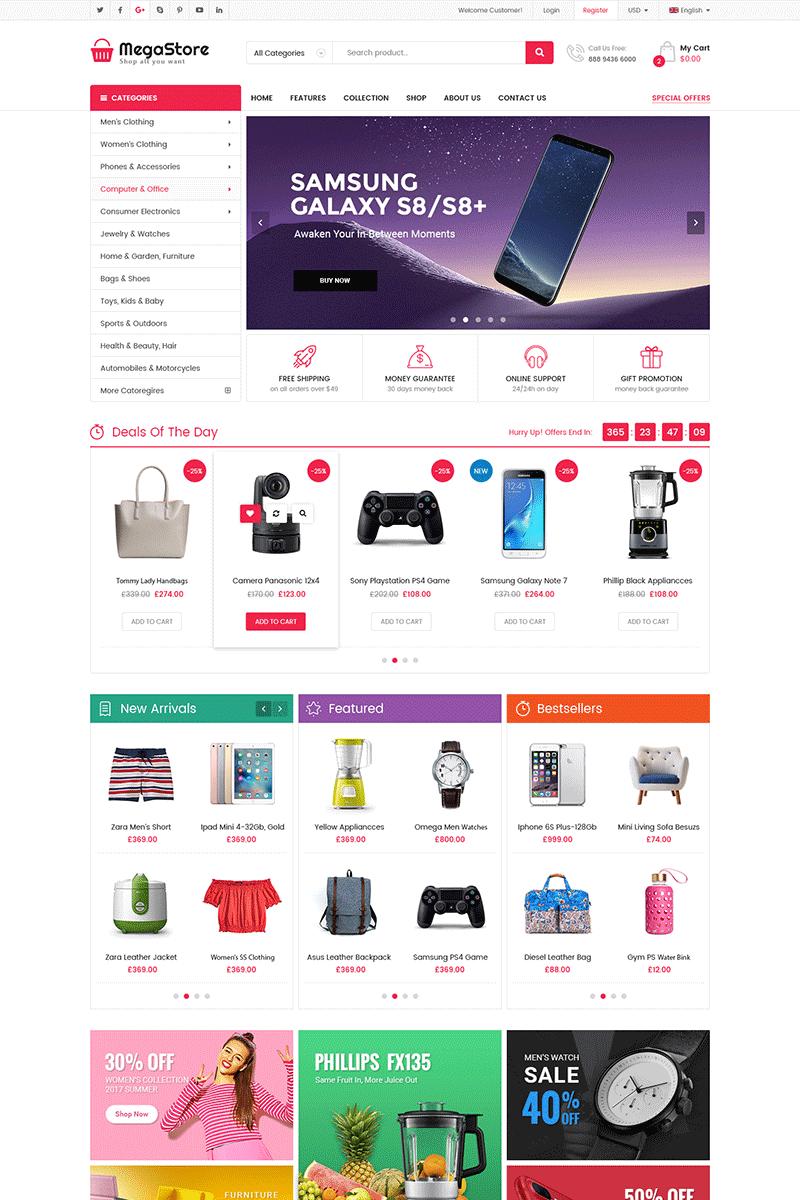 """""""MegaStore -  Multipurpose"""" Responsive OpenCart Template №71169 - screenshot"""