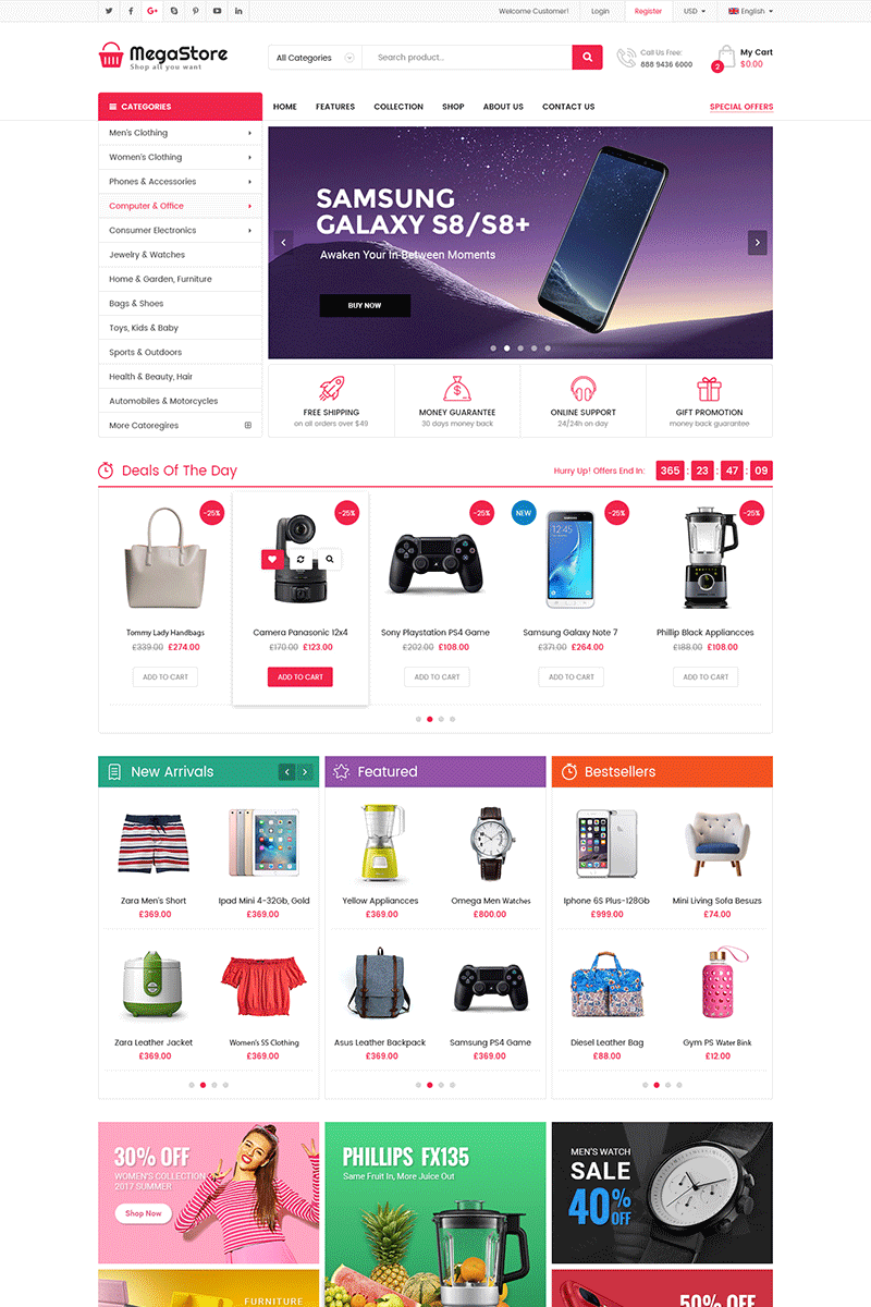 """MegaStore -  Multipurpose"" thème OpenCart adaptatif #71169 - screenshot"