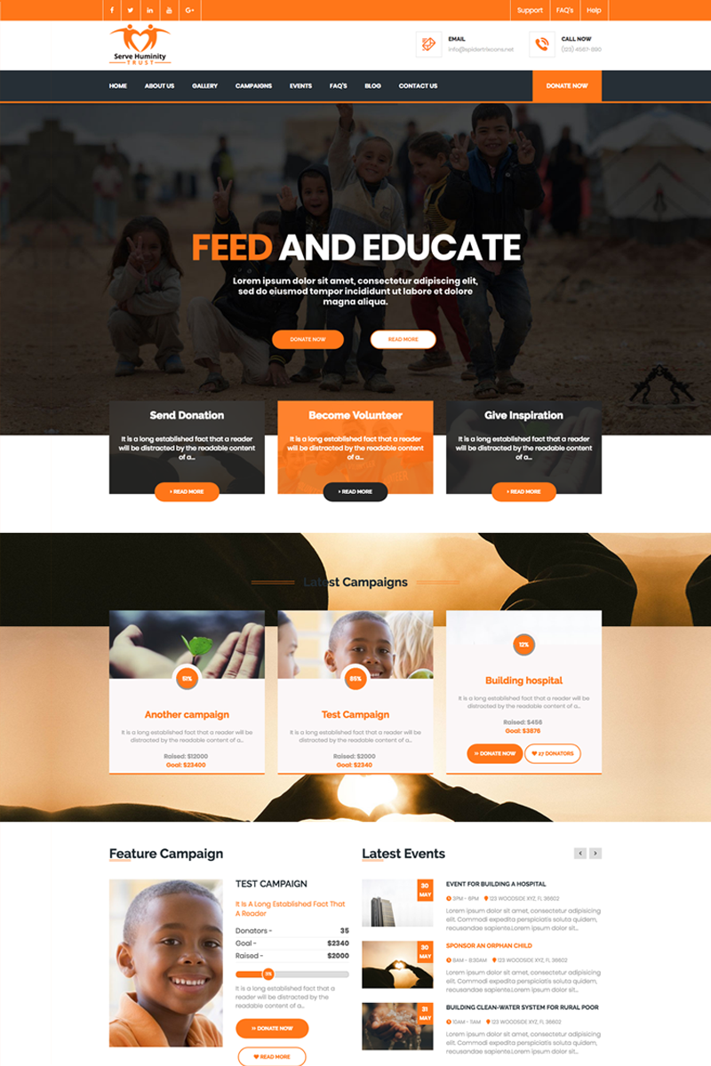 """Servehuman - Responsive Charity with WooCommerce"" BootstrapWordPress模板 #71189"