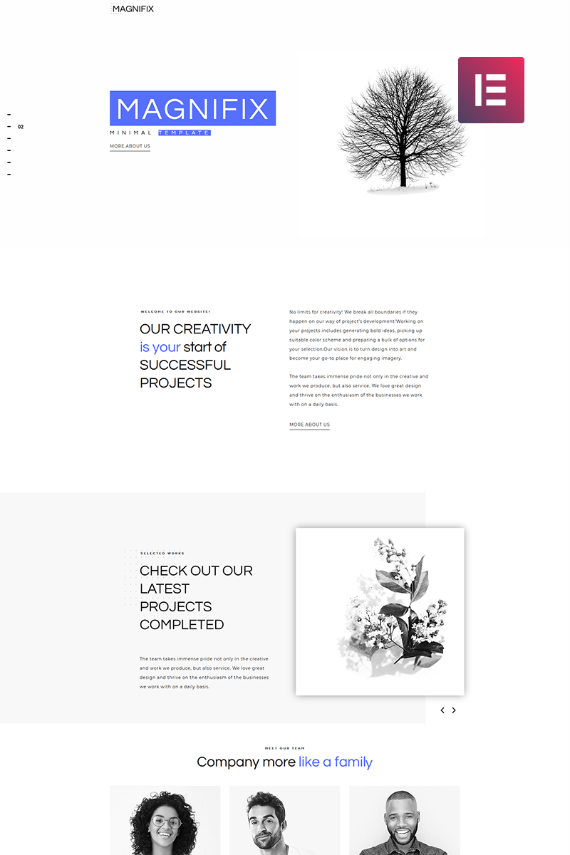 "Tema De WordPress ""Magnifix - Creative Minimal Elementor"" #71198 - captura de pantalla"