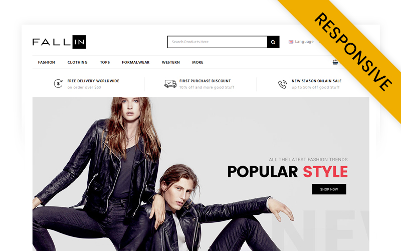 "Template OpenCart Responsive #71149 ""Fallin - Fashion Store"""