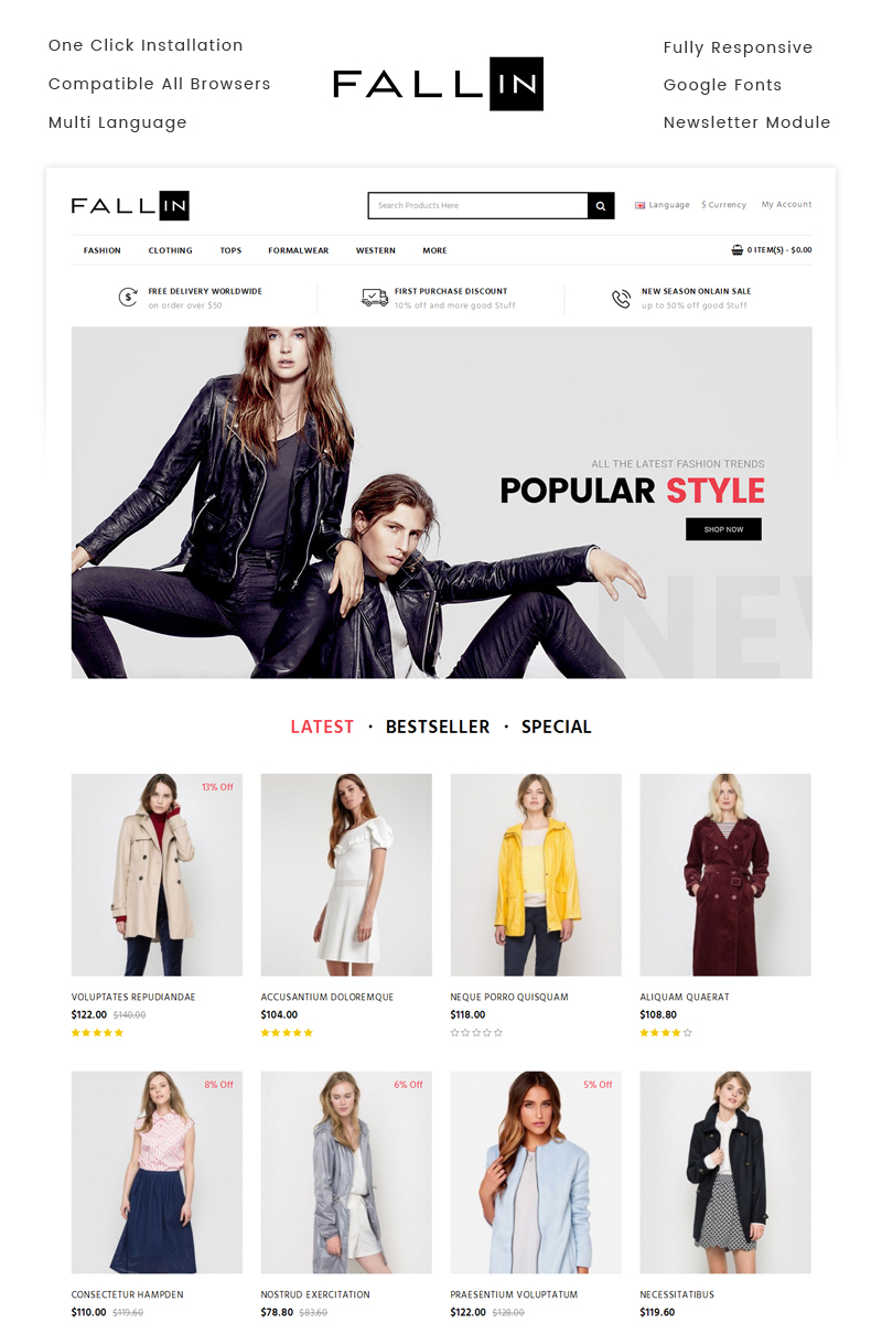 "Template OpenCart Responsive #71149 ""Fallin - Fashion Store"""