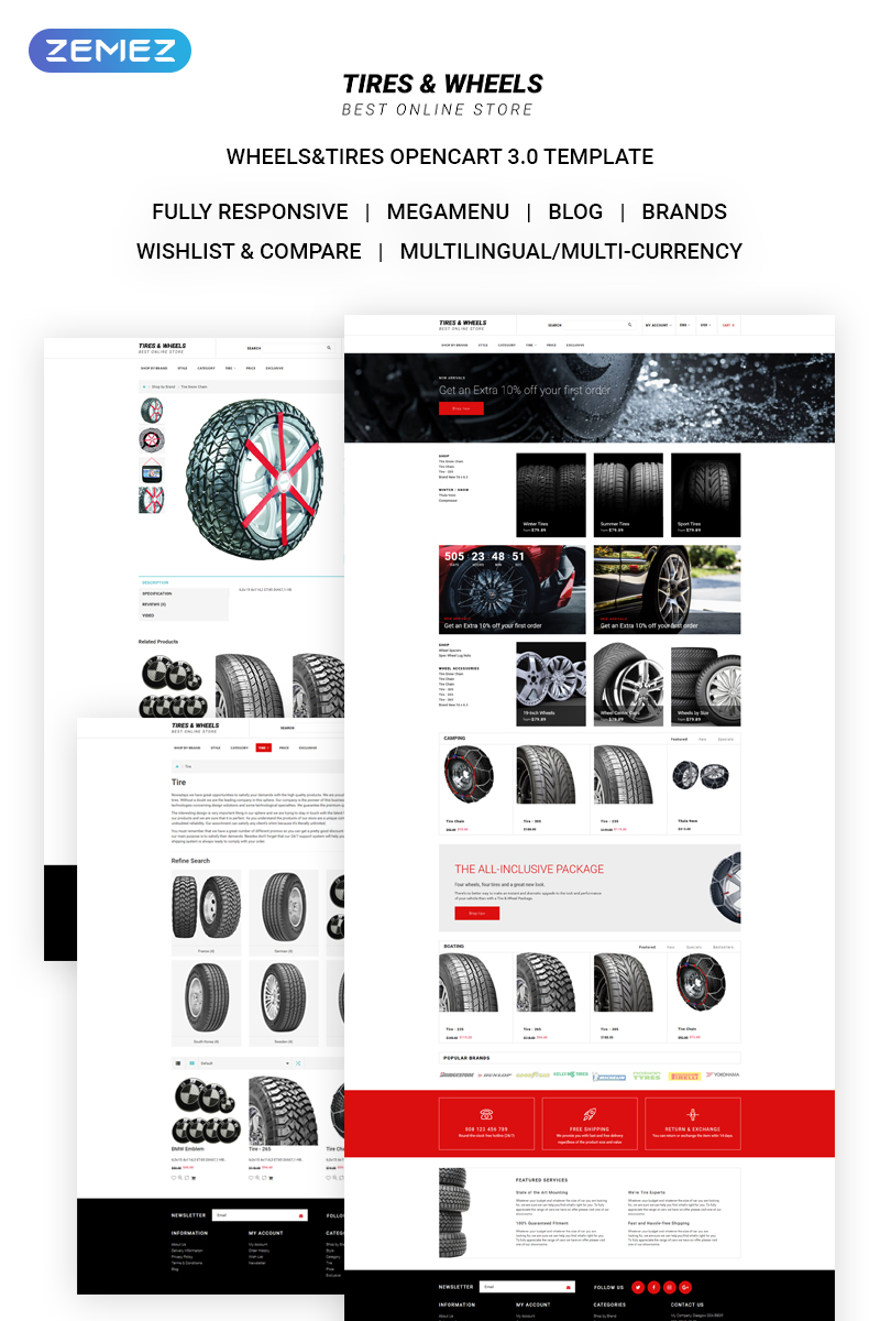 Online Tire Store >> Tires Wheels Auto Parts Online Store Opencart Template