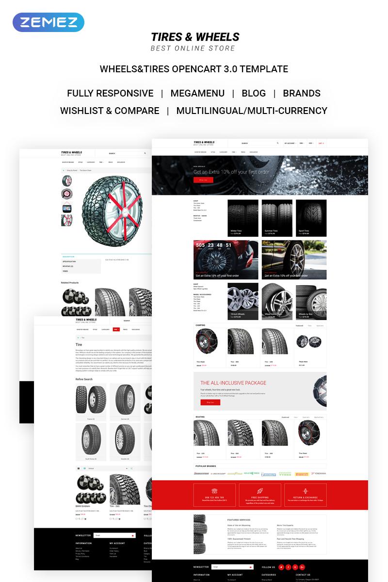 """Tires & Wheels - Auto Parts Online Store"" thème OpenCart adaptatif #71135"