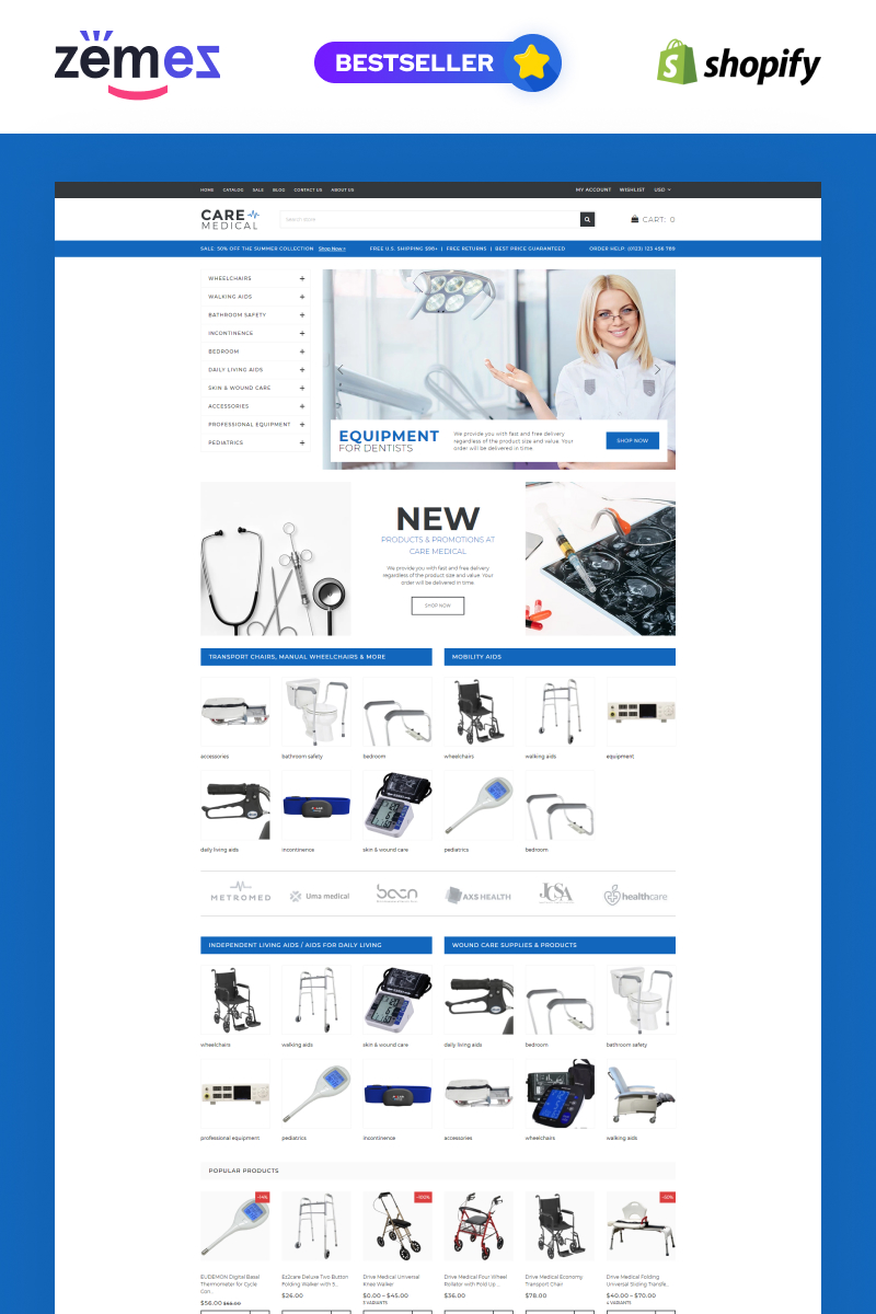 """""""Care - Medical Equipment"""" Responsive Shopify Thema №71257"""