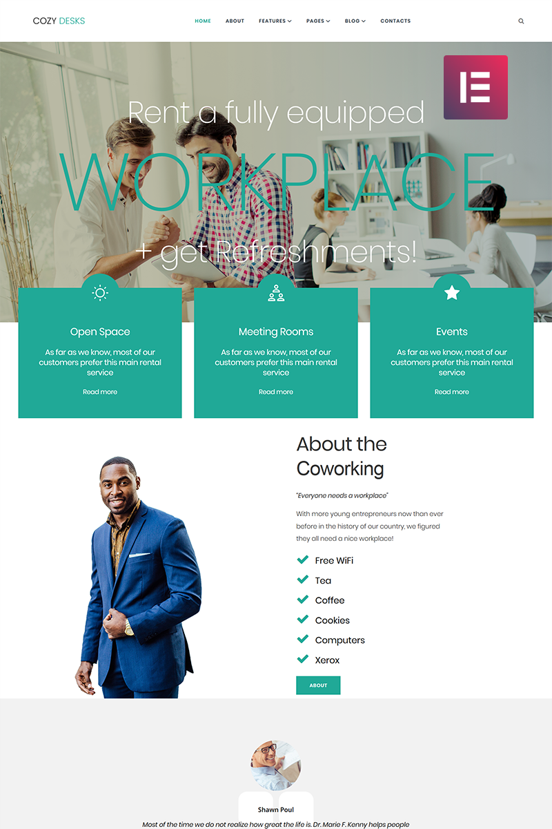 """Cozy Desks - Coworking Elementor"" Responsive WordPress thema №71269"