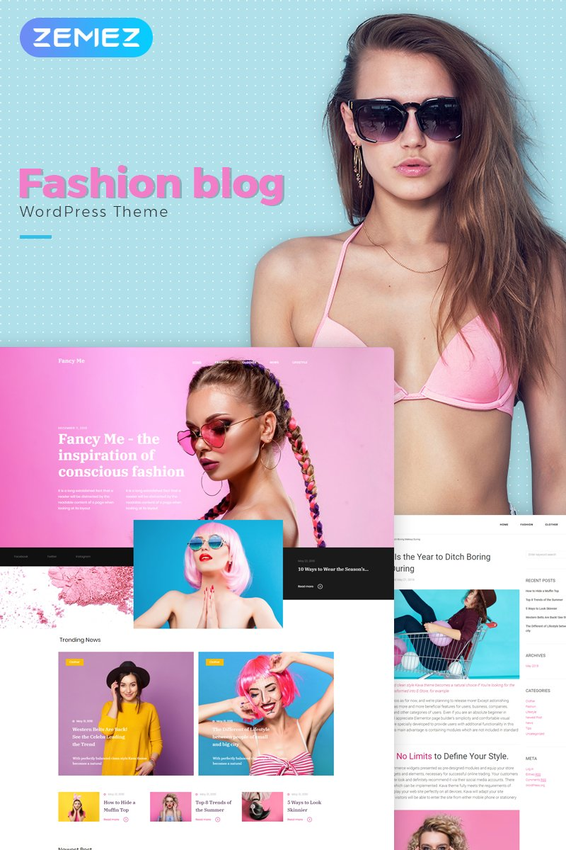 """Fancy Me - Fashion Blog Elementor"" - адаптивний WordPress шаблон №71209"