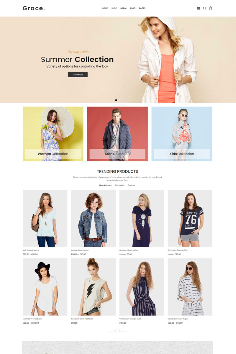 Grace - Minimal Fashion Store Tema WooCommerce №71266