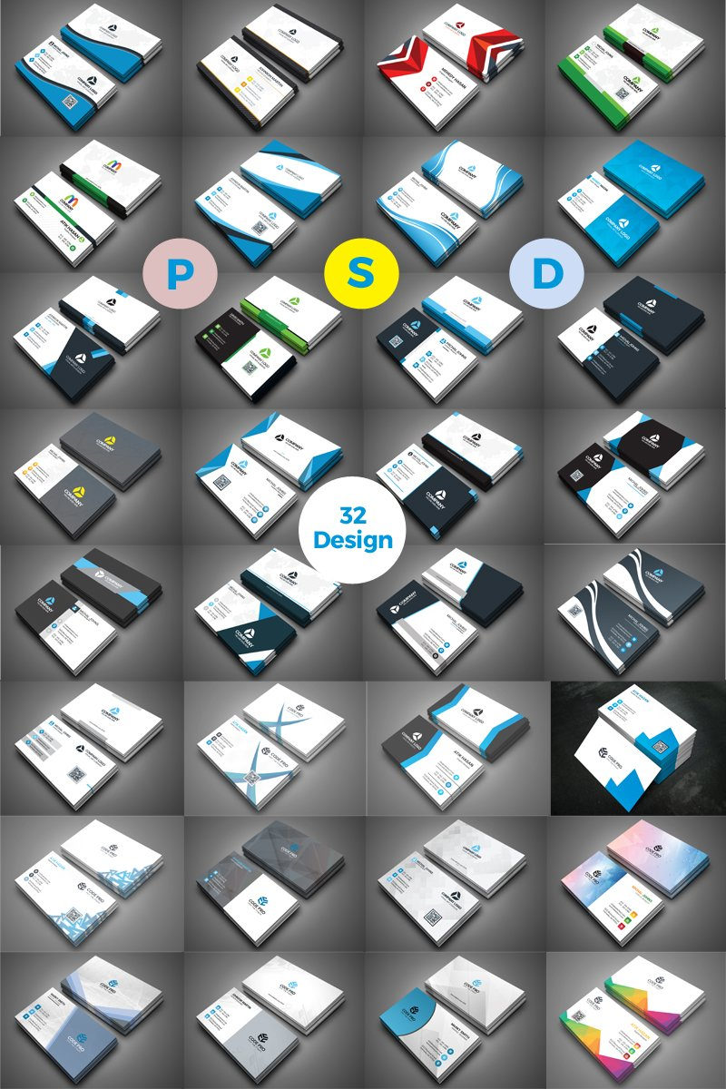 32 in Corporate Business Card Template de Identidade Corporativa №71202