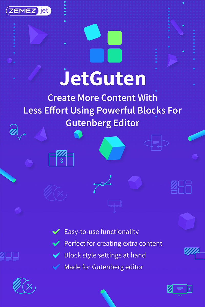 JetGuten - Blocks Set Addon for Gutenberg Editor Wordpress Eklentisi #71254