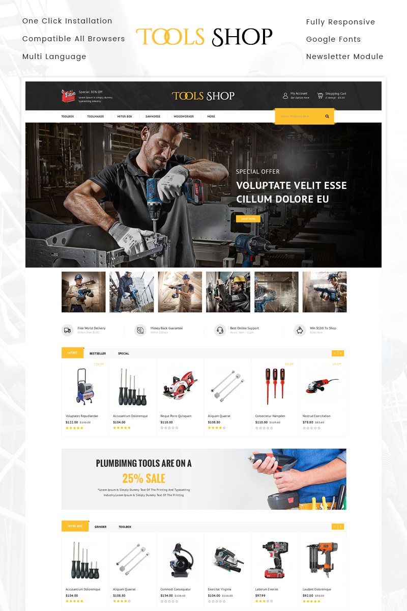 "OpenCart Vorlage namens ""Tools Shop"" #71207"