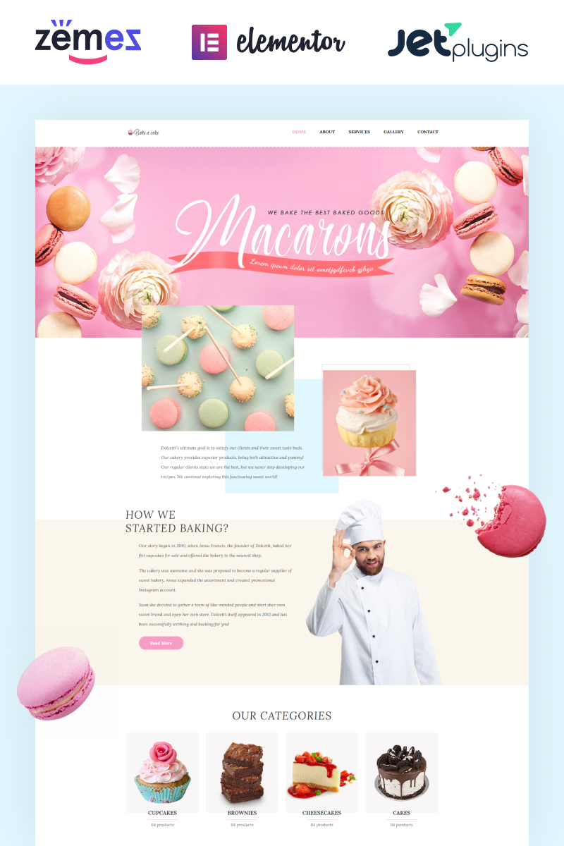 Responsive Bake-a-cake - Cakery Elementor Wordpress #71241