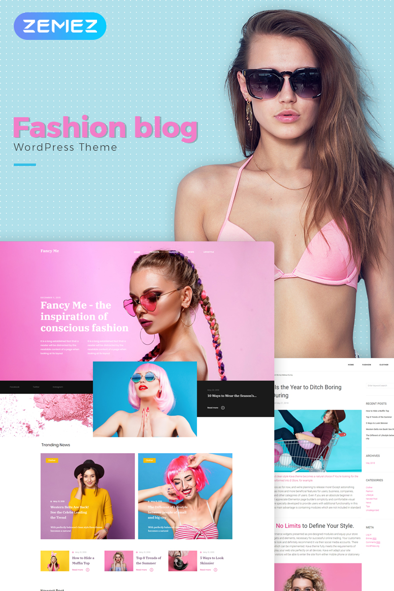 Responsive Fancy Me - Fashion Blog Elementor Wordpress #71209