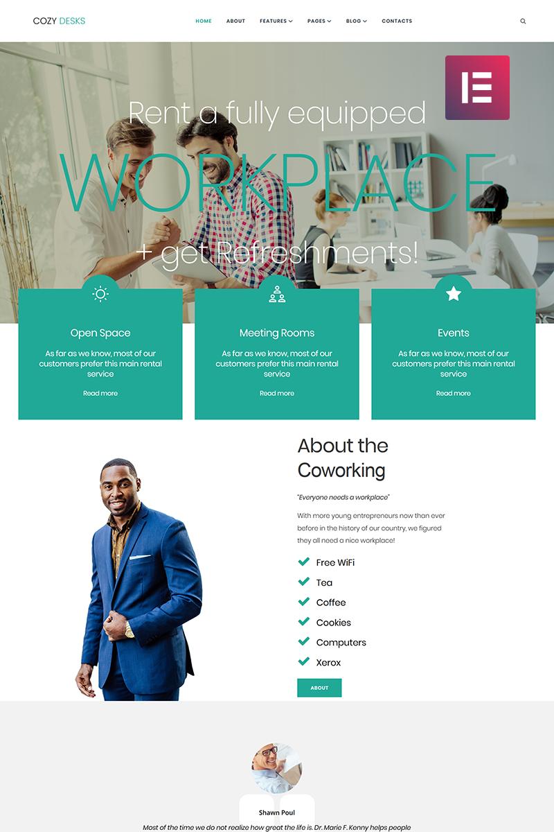 Responsivt Cozy Desks - Coworking Elementor WordPress-tema #71269
