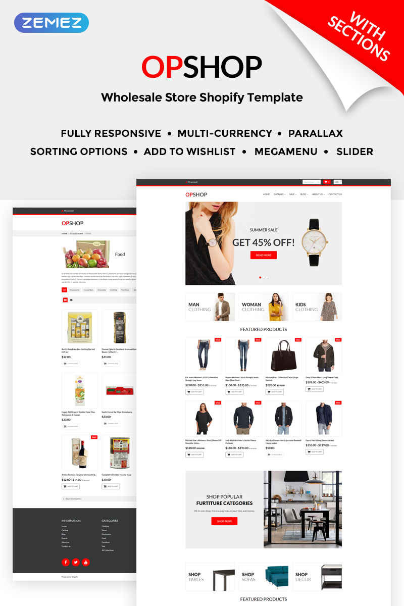 Responsivt OpShop - Wholesale Store Shopify-tema #71203 - skärmbild