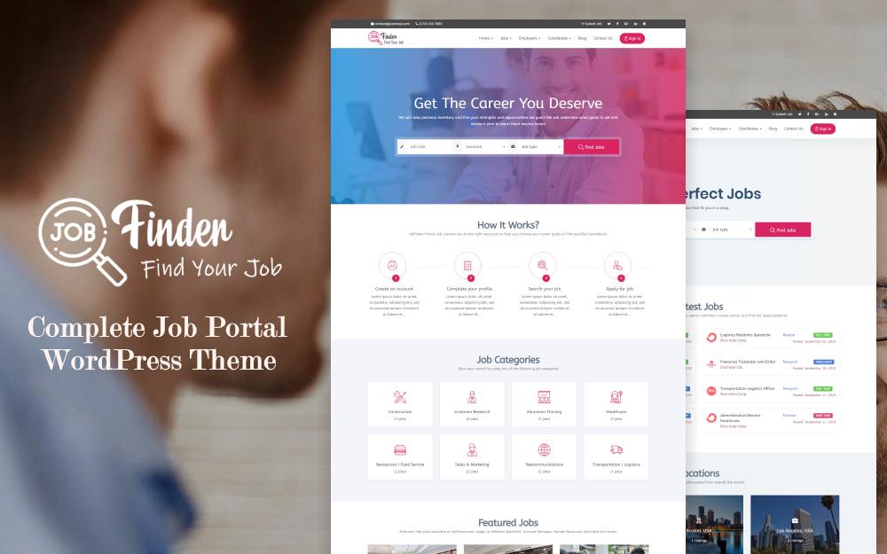 Responsywny motyw WordPress Jobfinder - Job Board #71206