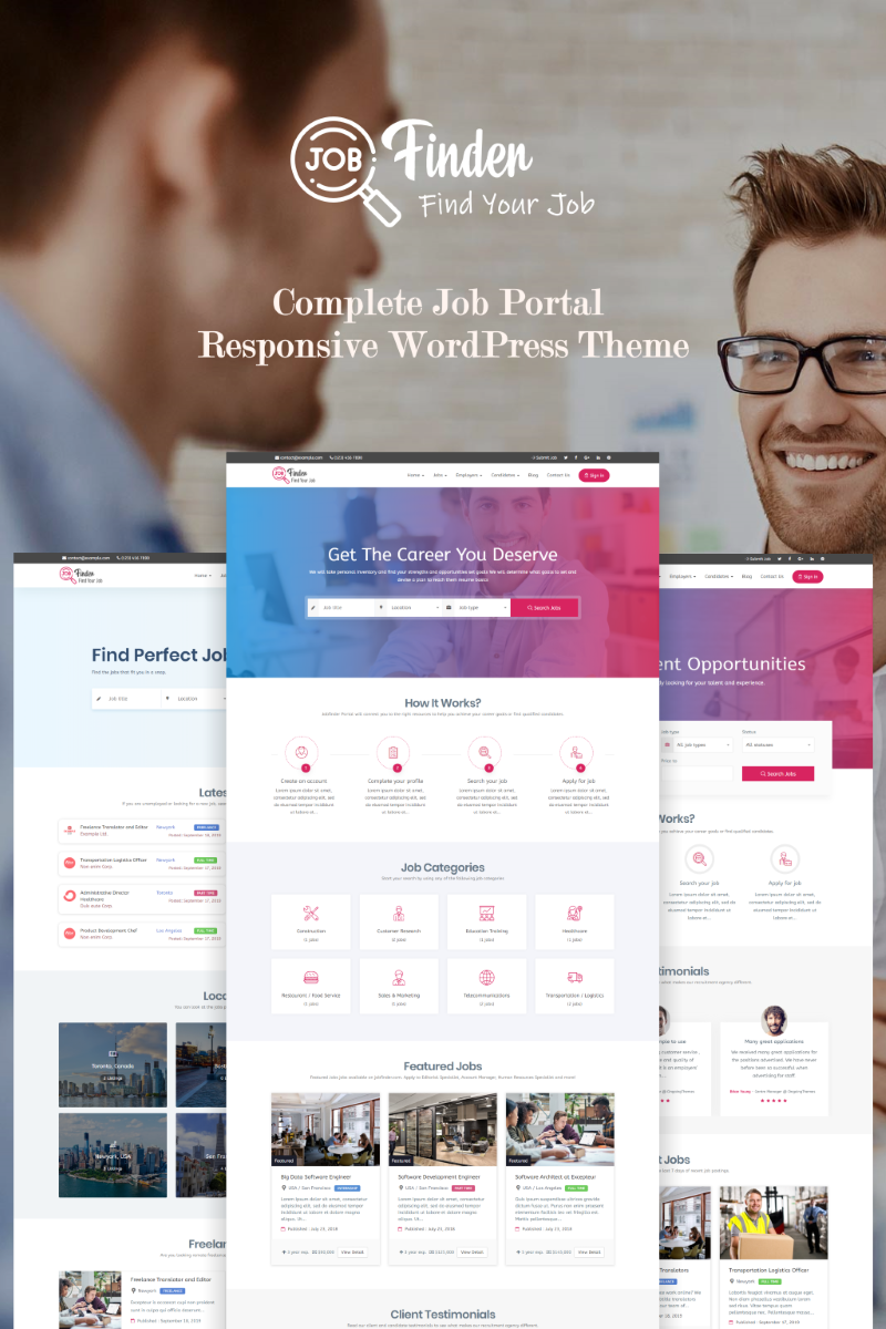 Responsywny motyw WordPress Jobfinder - Job Board #71206