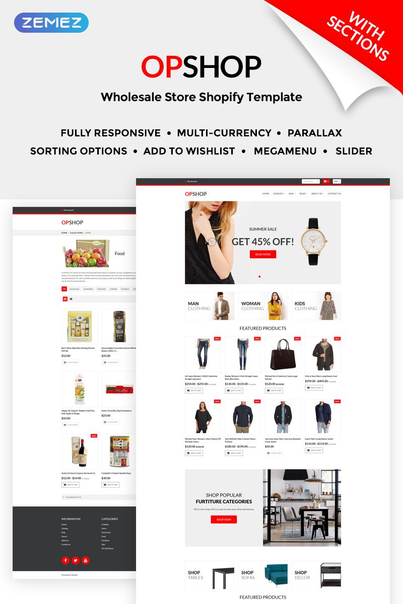 "Tema Shopify ""OpShop - Wholesale Store"" #71203 - captura de pantalla"