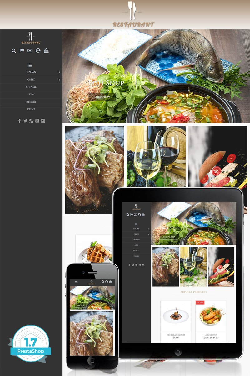 """Universal Restaurant 1.7"" - адаптивний PrestaShop шаблон №71210"
