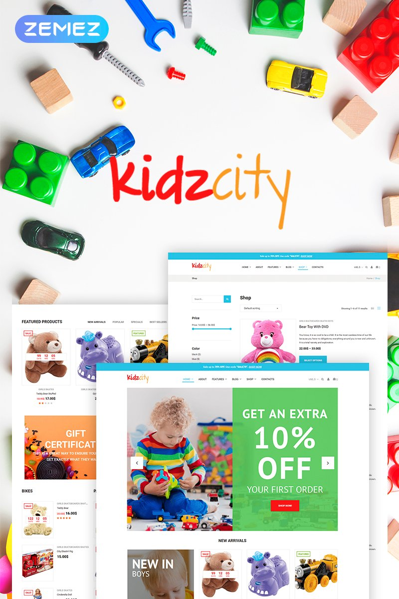 "WooCommerce Theme namens ""Kidz City - Kids Store Elementor"" #71235"