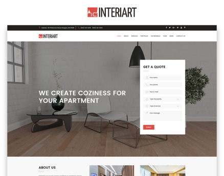 Interiart - Interior Design HTML Landing Page Template