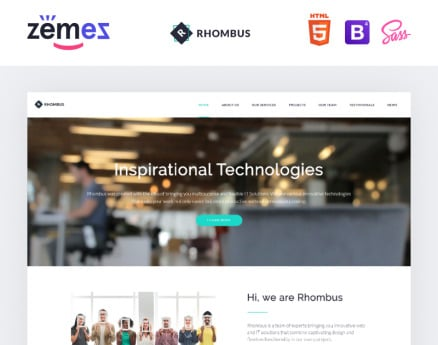 Phombus - Minimalistic IT Solutions Company Landing Page Template