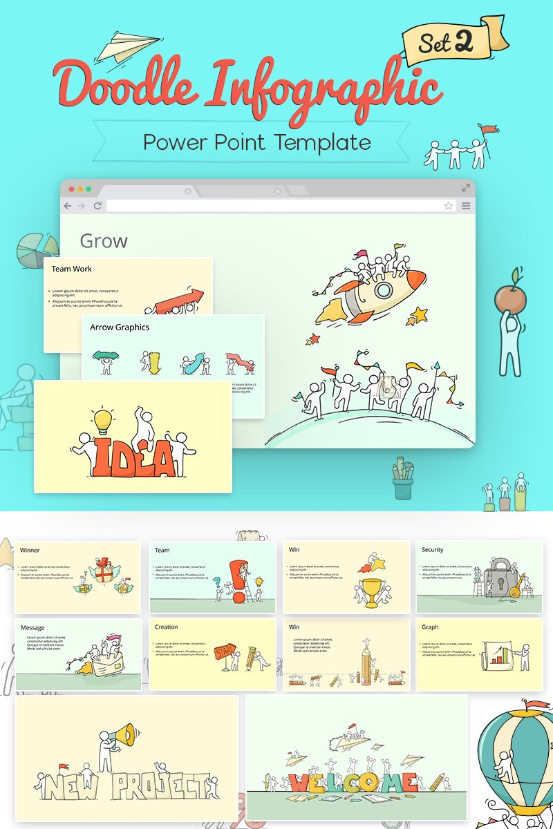 """Doodle Infographic Set"" PowerPoint Template №71314"