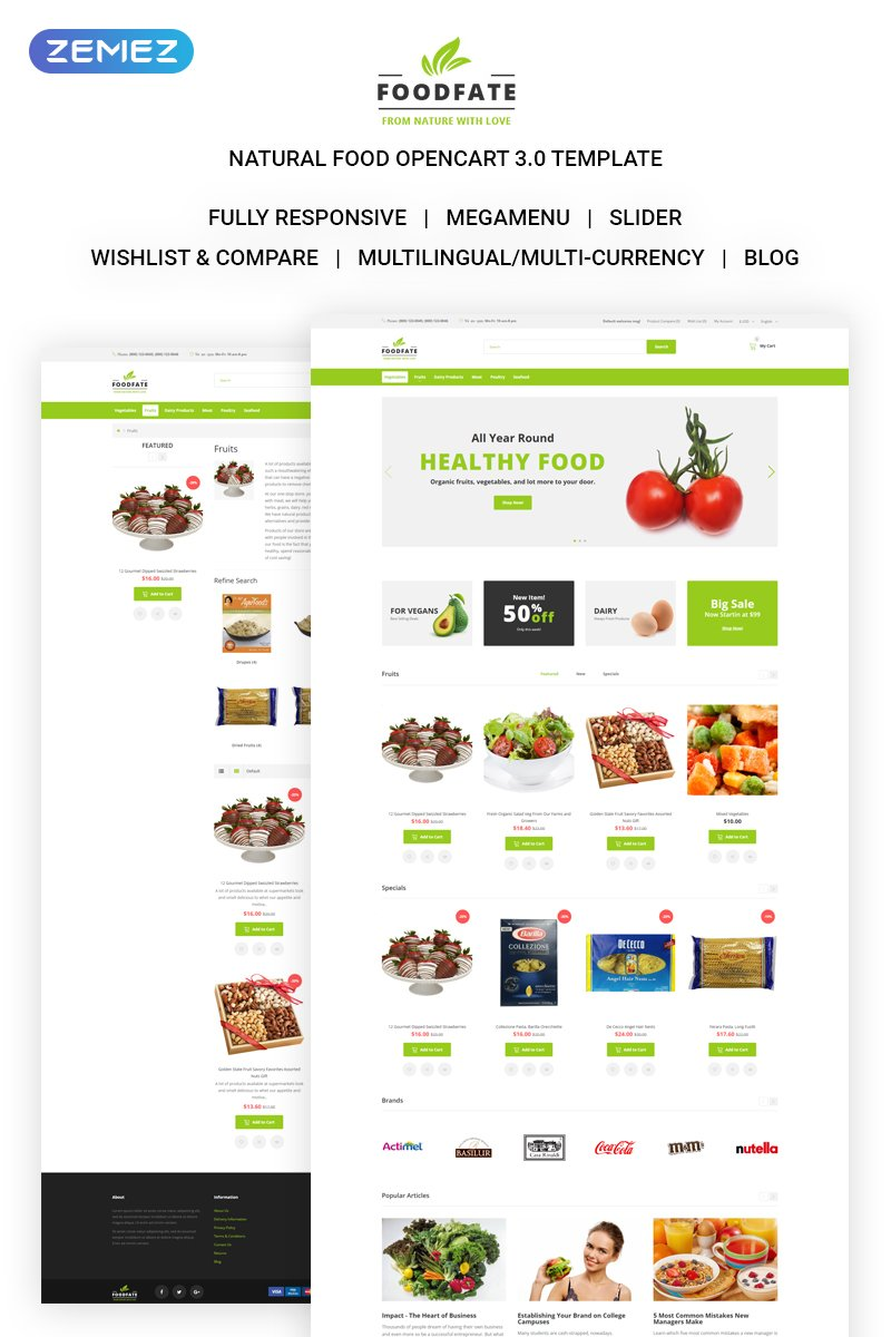 FOODFATE - Efficient Online Food Store OpenCart Template