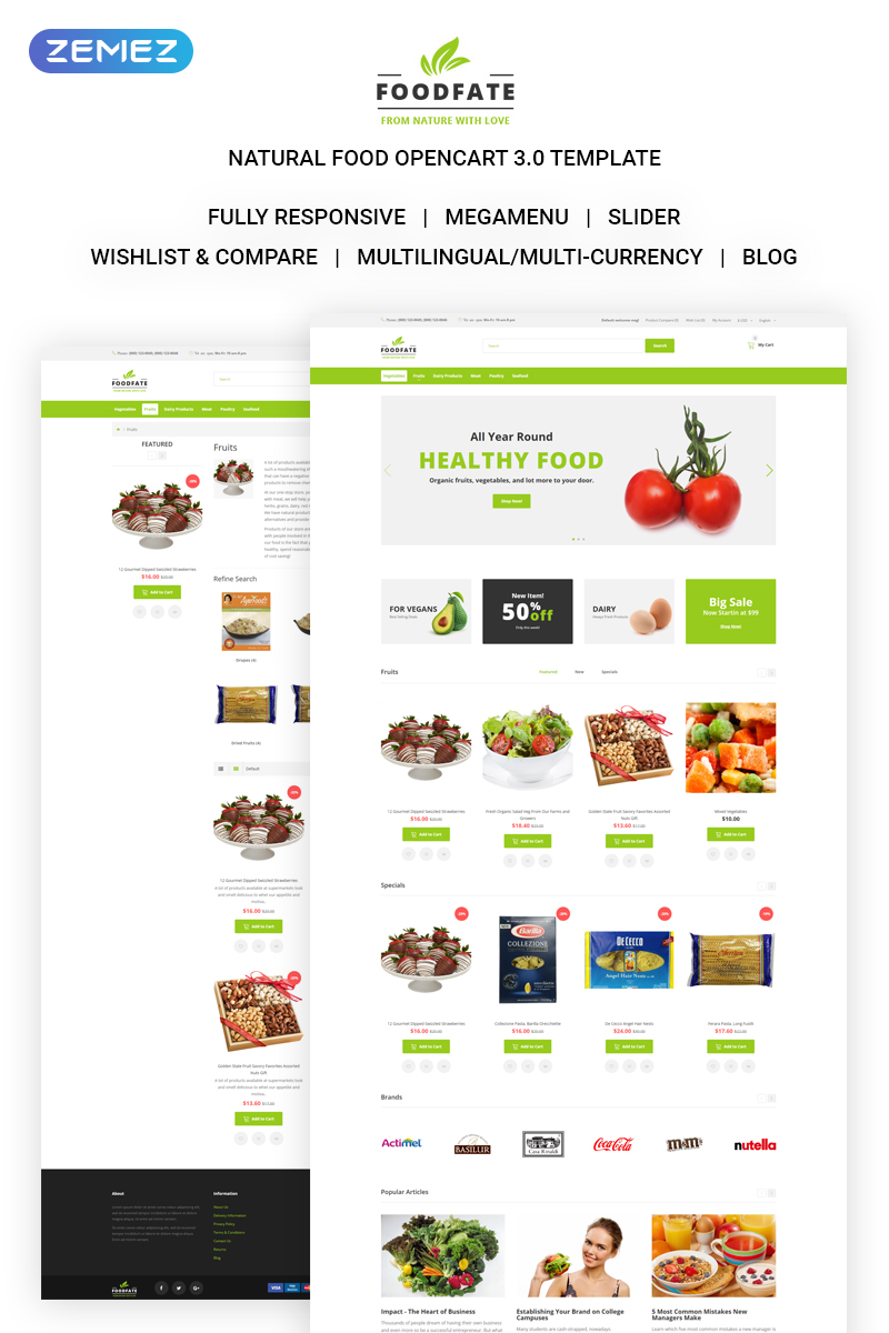 """FOODFATE - Efficient Online Food Store"" Responsive OpenCart Template №71313"