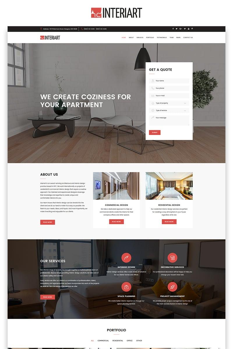"""Interiart - Interior Design HTML"" Responsive Landingspagina Template №71321 - screenshot"