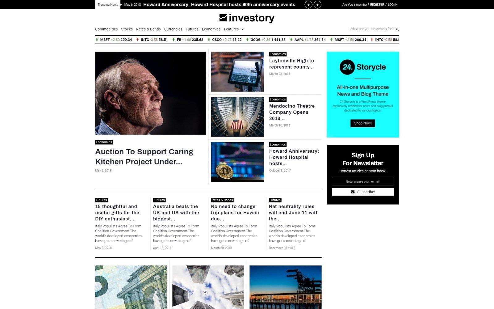 """Investory - Corporate Blog Elementor"" 响应式WordPress模板 #71318"