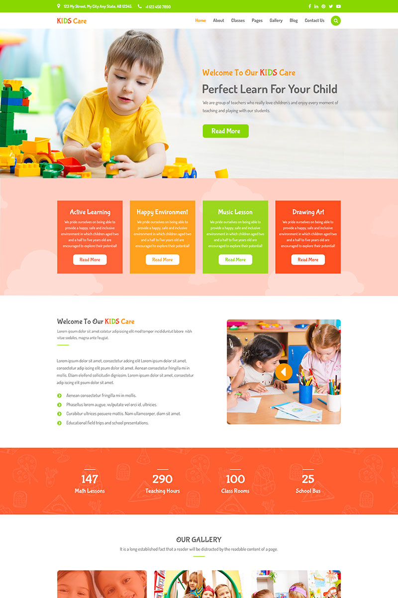 Kids Care - Children & Kindergarten PSD Template