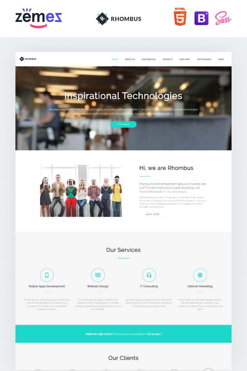 """Landing Page Template namens """"Phombus - Minimalistic IT Solutions Company"""" #71360"""