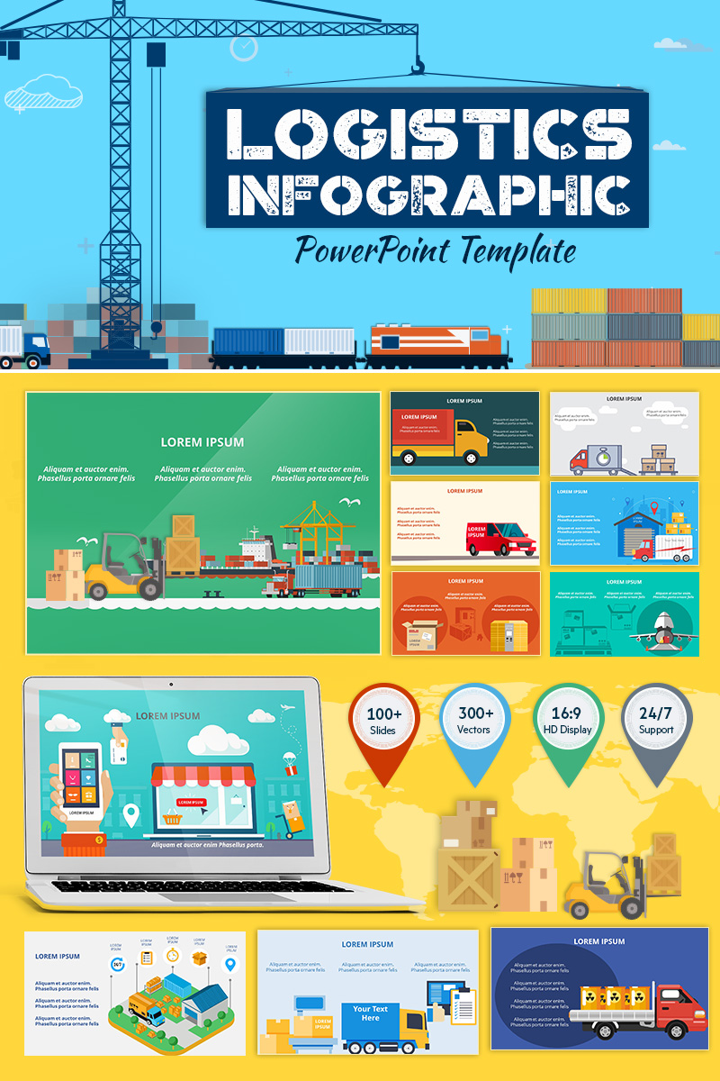 """Logistics Infographic Set"" - PowerPoint шаблон №71324"