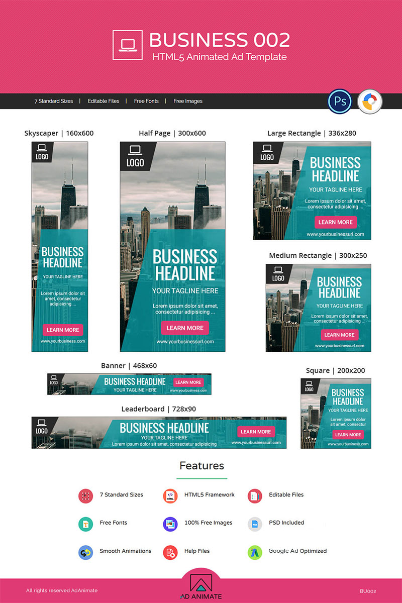 """Modello Animated Banner #71312 """"Business 002 - HTML5 Ad"""""""