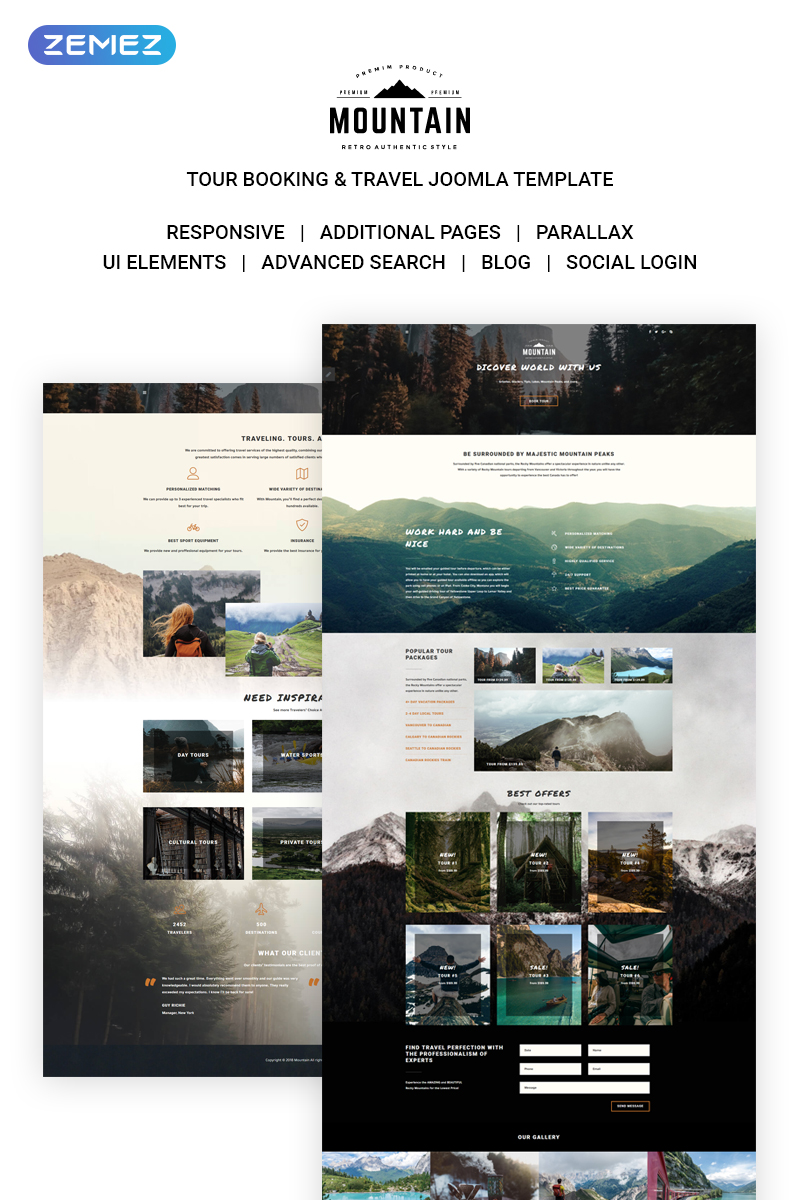 "Modello Joomla Responsive #71306 ""Mountain Tours"""